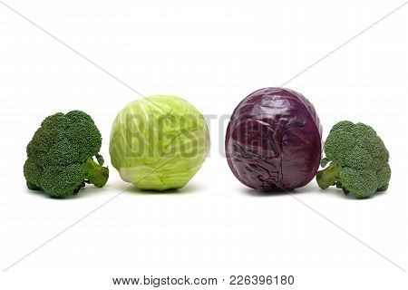 Broccoli And Other Cabbage Isolated On White Background. Horizontal Photo.