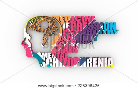 Abstract Illustration Of A Human Head. Woman Face Silhouette. Medical Theme Creative Concept. Schizo