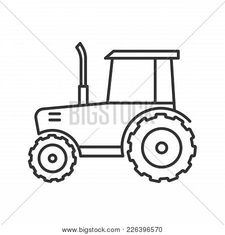 Tractor Linear Icon. Agricultural Implement. Thin Line Illustration. Contour Symbol. Vector Isolated