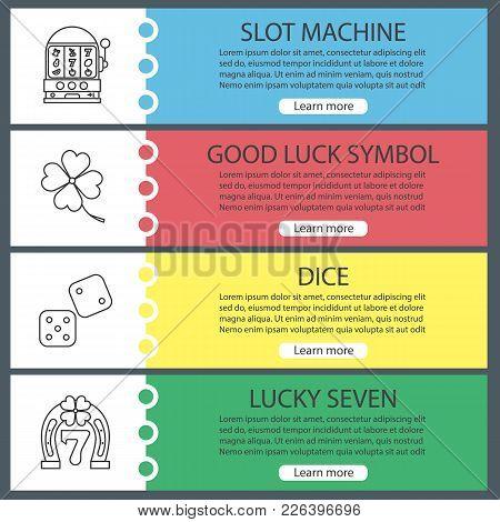 Casino Web Banner Templates Set. Slot Machine, Four Leaf Clover, Dice, Lucky Seven. Website Color Me