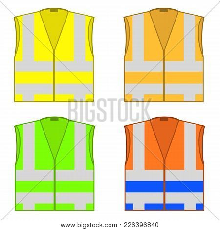 Set Of Colorful Safety Jackets Isolated On White Background. Protective Workwear For Work. Road Vest