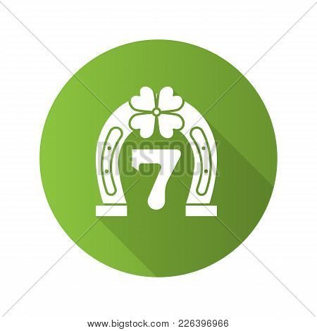 Lucky Seven Game Flat Design Long Shadow Glyph Icon. Horseshoe And Four Leaf Clover With Number 7. V