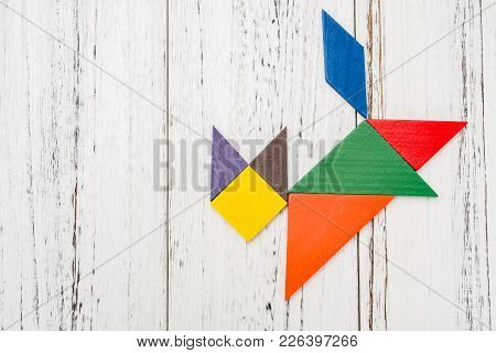Wooden Tangram In A Cat Shape With Copy Space