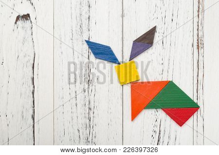 Wooden Tangram In A Rabbit Shape With Copy Space