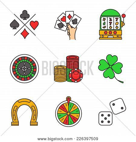 Casino Color Icons Set. Cards Suits, Four Aces, Slot Machine, Roulette, Wheel Of Fortune, Gambling C