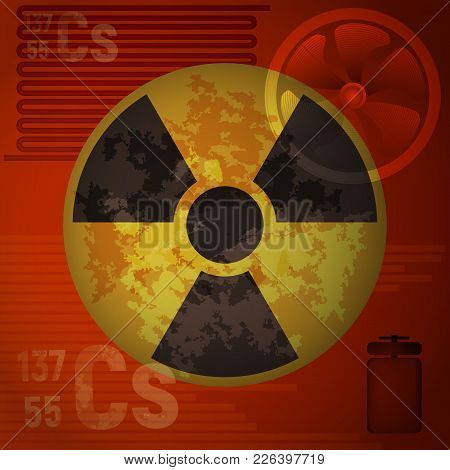 Warning Radiation Hazard Vector Illustration. Molecule Of Cesium 137 On A Red Background. The Patter