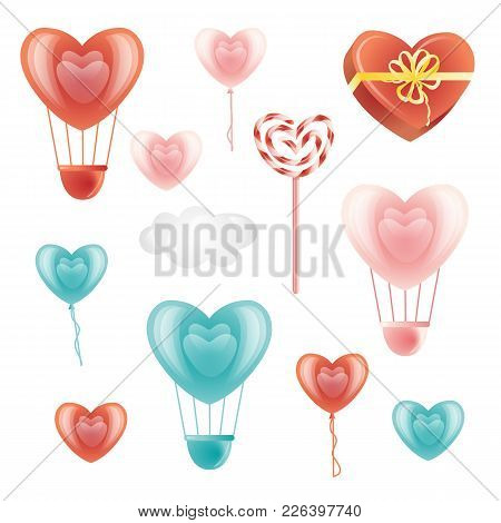 Set Of Heart-shaped Balloons, Lollipop, Present Box And Decoration Elements, Flat Style Vector Illus