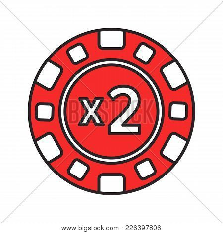 Double Down Casino Chip Color Icon. 2x Gambling Token. Black Jack. Isolated Vector Illustration