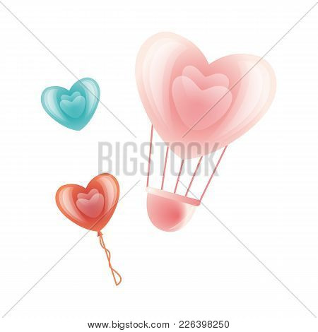 Vector Happy Valentines Day Heart Symbols Icon Set. Hot Air Balloon Heart Shape, Heart Icon. Romanti