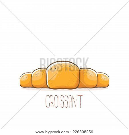 Vector Cartoon Croissant Icon Isolated On White Background. Vector Hand Made Bakery Logo Design Temp