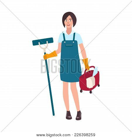 Young Smiling Woman Dressed In Uniform Holding Floor Mop And Bucket. Female Cleaning Service Worker,