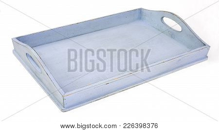 Empty Blue Tray Isolated Over White Background