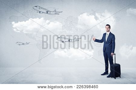 Businessman hitchhiking with flying airplanes cloud and map concept