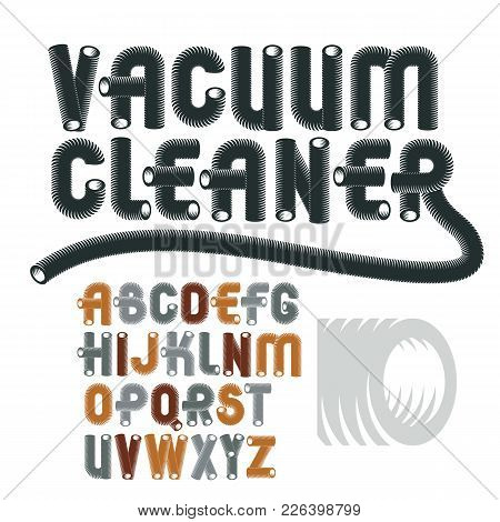 Set Of Cool Vector Upper Case English Alphabet Letters, Abc Isolated. Trendy Rounded Font, Script Fr