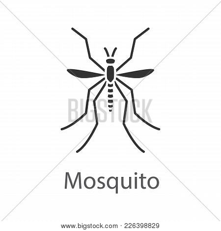 Mosquito Glyph Icon. Insect. Midge, Gnat. Silhouette Symbol. Negative Space. Vector Isolated Illustr