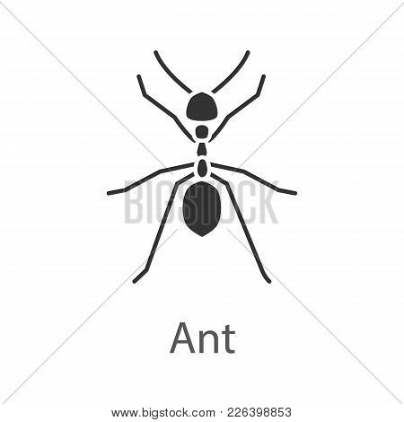 Ant Glyph Icon. Insect. Silhouette Symbol. Negative Space. Vector Isolated Illustration