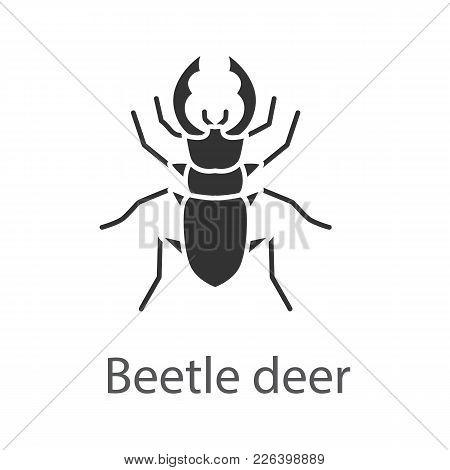 Stag Beetle Glyph Icon. Bug. Lucanus Cervus. Silhouette Symbol. Negative Space. Vector Isolated Illu