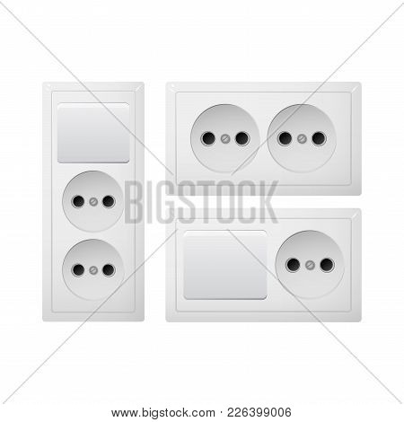 Electrical Socket Type C With Switch. Power Plug Vector Illustration. Realistic Receptacle From Sout