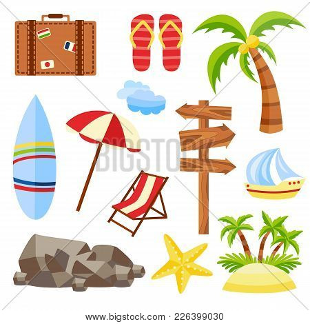 Vector Flat Travelling Bag, Beach Vacation Icon Set. Summer Holiday Slippers Surf Starfish Sand Isla
