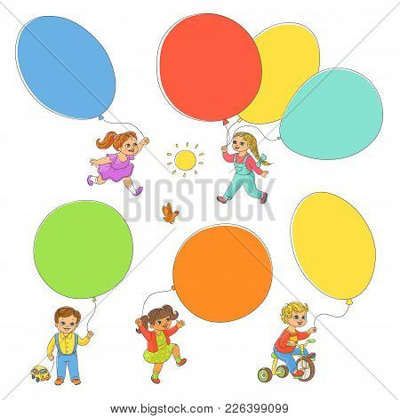 Set Of Children Playing With Balloons, Hand-drawn Vector Illustration Isolated On White Background.