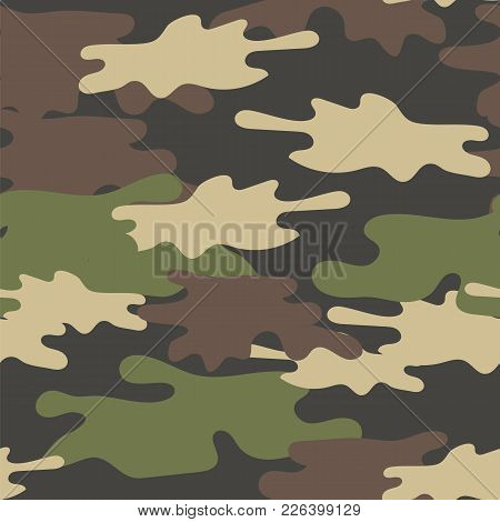 Camouflage Seamless Pattern. Military Repeat Army Texture . Classic Clothing Style Masking. Green Br