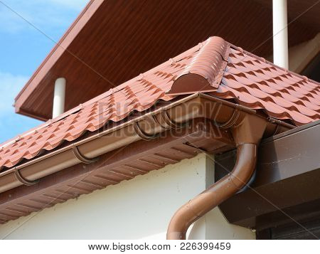 Close Up View On House Metal Roof Close Up View On House Metal Roof Problem Areas For Rain Gutter Wa
