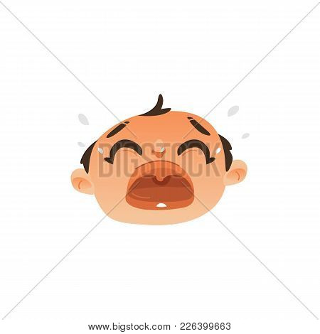 Vector Flat Baby Face With Sad Facial Expression Dissapointed Unhappy Boy Kid Crying. Cartoon Male F