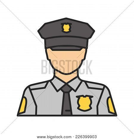 Policeman Color Icon. Police Officer. Isolated Vector Illustration