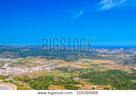 Es Mercadal Town Area Viewed from Monte Toro Mountain at Menorca Island, Spain.