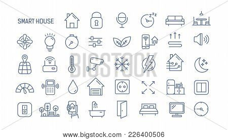 Collection Of Smart House Linear Icons - Control Of Lighting, Heating, Air Conditioning. Set Of Home