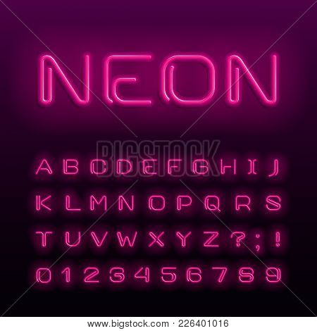 Neon Lamp Alphabet Font. Neon Color Shiny Letters, Numbers And Symbols. Stock Vector Typeface For An