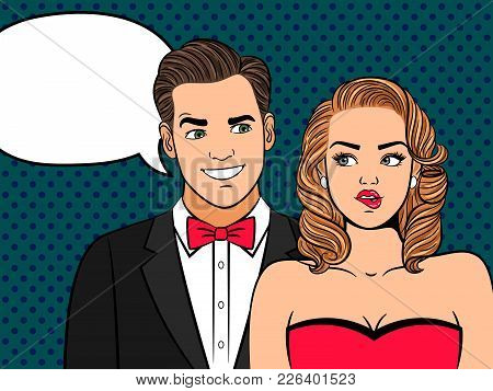 Pop Art Couple. Elegant Man In Love And Doubting Attractive Woman In Retro Style Vector Illustration
