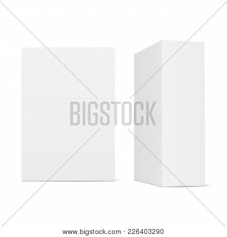 Two Blank Cardboard Boxes - Front View And Half Side View. Product Packaging Mockup Isolated On Whit
