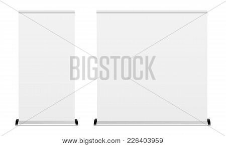 Blank Roll-up Banner Isolated On White Background. Two Mockups To Showcase Your Design Projects In E