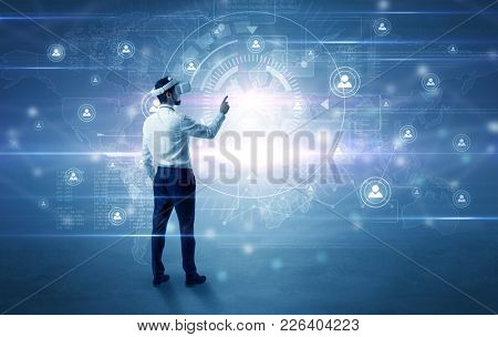 Manager with vr headset and social network research concept