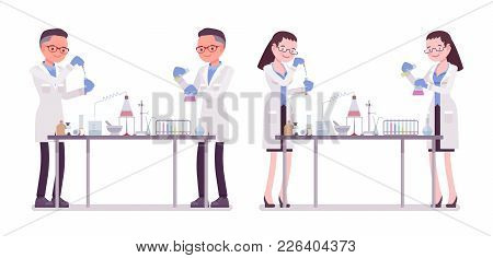 Male And Female Scientist In Chemical Experiments. Expert Of Physical Or Natural Laboratory In White