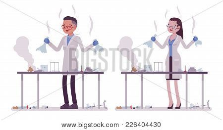 Male And Female Scientist Failed Chemical Experiments. Expert Of Physical Or Natural Laboratory In W