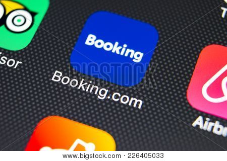 Sankt-petersburg, Russia, February 9, 2018: Booking.com Application Icon On Apple Iphone X Screen Cl