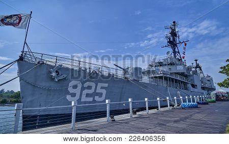 Tainan, Taiwan - November 3, 2017: Military Ship In The Port On 3 November 2017 In Tainan, Taiwan. T