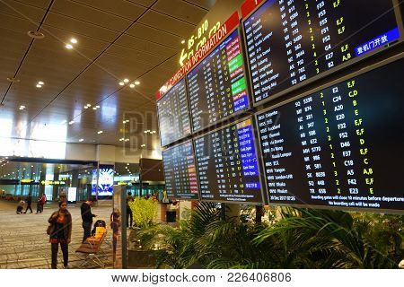 Singapore-jan 08, 2018: Departure Board In Changi Airport. Changi Airport Is One Of The Largest Tran