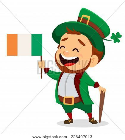Cartoon Funny Leprechaun With Irish Flag And Cane