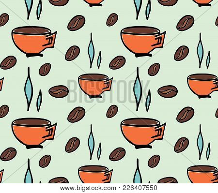 Seamless Pattern Cup Of Coffee And  Beans Coffe. Wrapping Paper. Vector Stock Illustration.