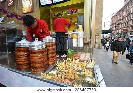 Shanghai, China- Jan 20, 2018: Various Types Of Oden Boiling Hot Soup In A Shop In Shanghai.