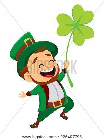 Cartoon Funny Leprechaun With Clover