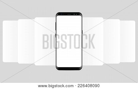 Smartphone With Blank Wireframing Screens. Web-design Concept - App Screen Mockup To Create And Show