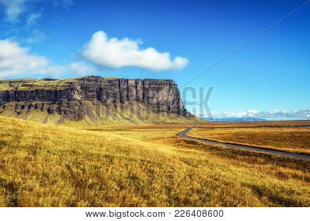 Scenic Landscape With The Famous Ring Road In Iceland