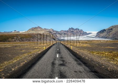 Famous Ring Road In Iceland Leading To Vatnajokull, Also Known As The Vatna Glacier. It Is The Large