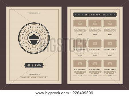 Restaurant Logo And Menu Design Vector Brochure Template. Bakery Cupcake Silhouette.