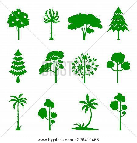 Set Of Green Tree Icons. Silhoutte Of Trees On A White Background. Fruit Tree, Pine Forest, Burgeoni