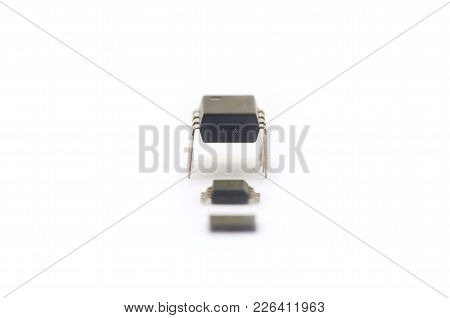 Tree Microchips Isolated On White Background. Modern And Old
